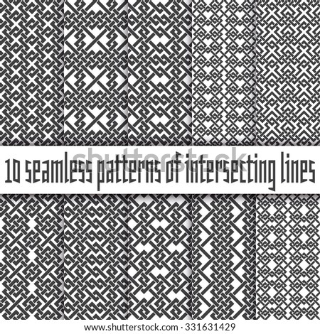 Vector set of abstract seamless patterns. Ten swatches of black lines on white backgrounds.