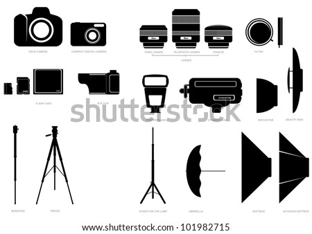 Vector set of abstract silhouettes with camera and photographic accessories - stock vector