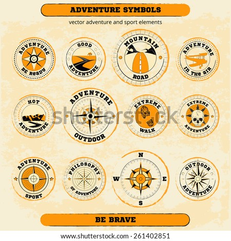 Vector set of adventure and sport symbols. Could be used: T-shirt and textile design, travel agencies and sport clubs, adventure articles, web-design - stock vector