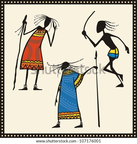 Vector set of African warriors in traditional clothing. - stock vector