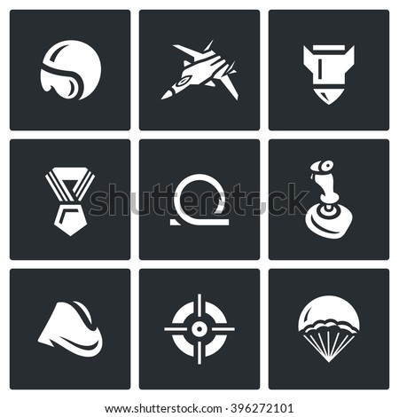 Vector Set of Air Force Icons. Pilot, Fighter, Bomb, Order, Loop, Joystick, Soldiers forage cap, Aim, Parachute. Military aircraft, stunt, weapons and quick landing - stock vector