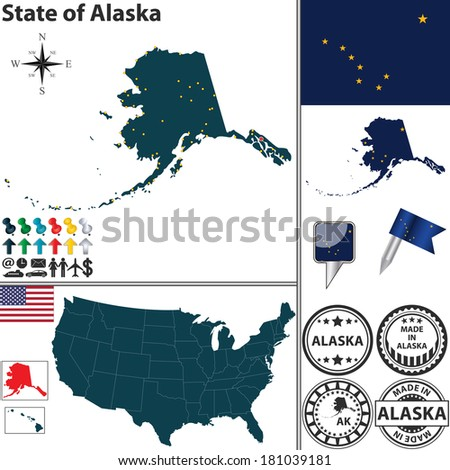 Vector set of Alaska state with flag and icons on white background - stock vector