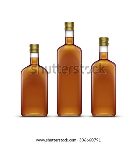 Vector Set of Alcohol Alcoholic Beverages Drinks Whiskey or Sunflower Olive Oil Glass Bottles Isolated on White Background - stock vector