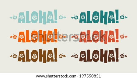 Vector set of aloha word in retro colors, hand drawn text  - stock vector