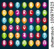 Vector set of alphabet and numbers with party birthday balloons. - stock vector