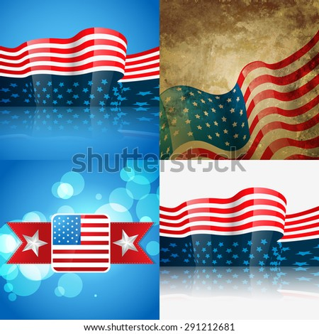 vector set of american flag design illustration with creative pattern and wave style - stock vector
