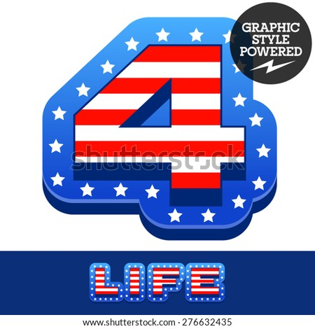 Vector set of american flag stripes and stars alphabet. Number 4