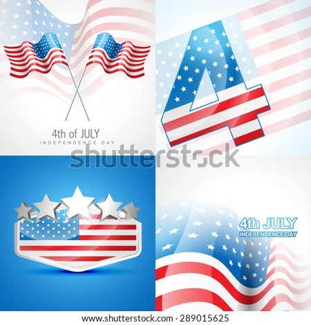 vector set of american independence day background illustration with american flag  - stock vector