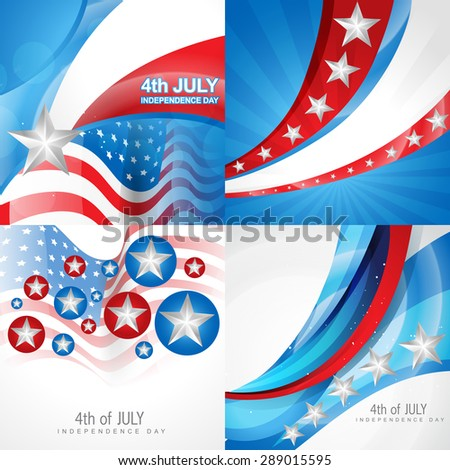 vector set of american independence day flag design background illustration - stock vector