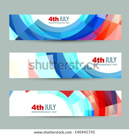 vector set of american independence day header - stock vector
