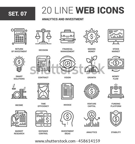 Vector set of analytics and investment line web icons. Each icon with adjustable strokes neatly designed on pixel perfect 64X64 size grid. Fully editable and easy to use.