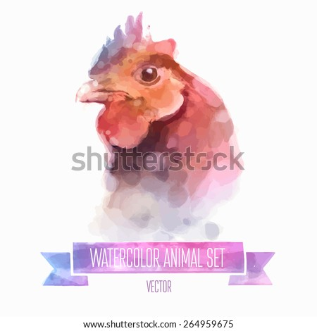 Vector set of animals. Chiken hand painted watercolor illustration isolated on white background - stock vector