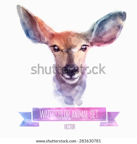 Vector set of animals. Deer hand painted watercolor illustration isolated on white background - stock vector