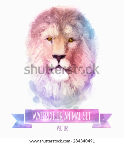 Vector set of animals. Lion hand painted watercolor illustration isolated on white background - stock vector
