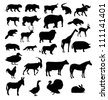 vector set of animals silhouette - stock photo