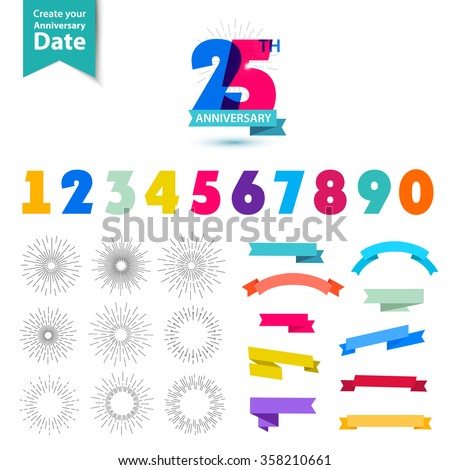 Vector set of anniversary numbers design. Create your own icons, compositions with ribbons, dates and sunbursts . Colorful retro collection of anniversary dates, anniversary numbers