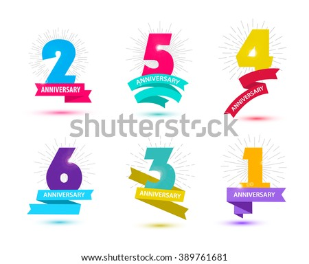 Vector set of anniversary numbers design. 1, 2, 3, 4, 5, 6 icons, compositions with ribbons. Colorful, transparent with shadows on white background isolated. Anniversary logos, anniversary design - stock vector
