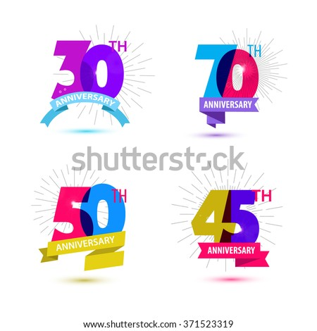 Vector set of anniversary numbers design. 30, 70, 50, 45 icons, compositions with ribbons. Colorful, transparent with shadows on white background isolated. Anniversary dates logos, birthday card icons - stock vector