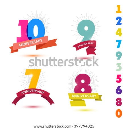 Vector set of anniversary numbers design. 10, 9, 7, 8 icons, compositions with ribbons. Colorful with shadows on white background isolated - stock vector