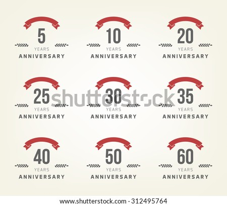 Vector Set Anniversary Signs Symbols Five Stock Vector 312495764