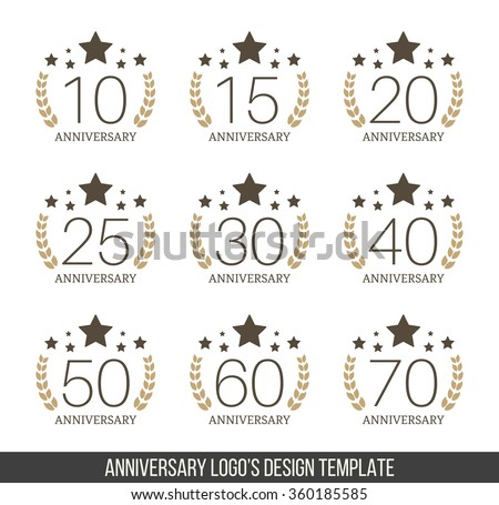 Vector set of anniversary signs, symbols. Ten,fifteen, twenty, twenty five, thirty, forty, fifty, sixty, seventy years jubilee design elements collection.