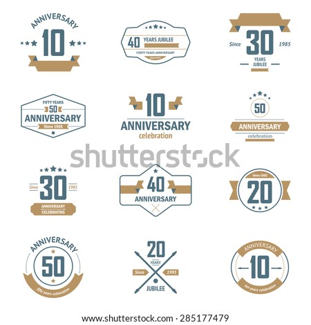 Vector set of anniversary signs, symbols. Ten, twenty, thirty, forty, fifty years jubilee design elements collection. - stock vector
