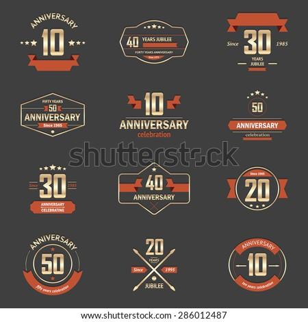 Vector Set Anniversary Signs Symbols Ten Stock Vector 286012487
