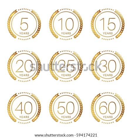 Vector Set Anniversary Symbols 5th 10th Stock Vector Hd Royalty