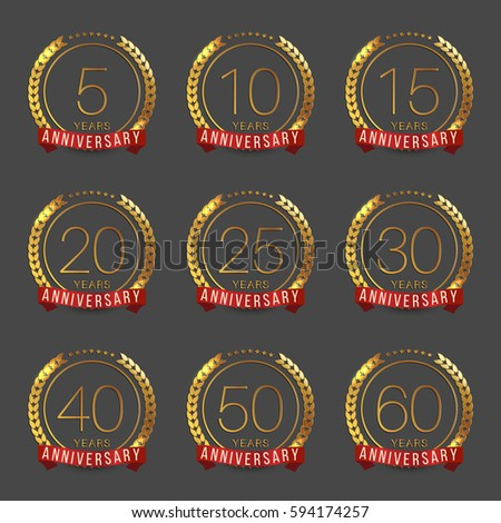 Vector Set Anniversary Symbols 5th 10th Stock Vector 594174257