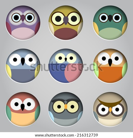 Vector set of app icons  cute owls  - stock vector