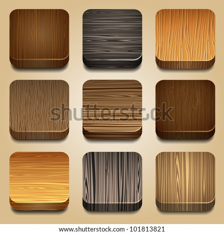 Vector set of apps icon with wooden texture - stock vector