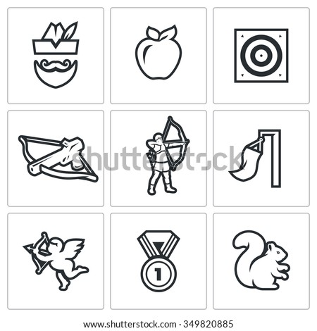 Vector Set of Archery Icons. Robin Hood, Apple, Target, Crossbow, Shooter, Wind, Amur, Medal, Squirrel. Man, Fruit, Shooting, Arms, Athlete, Flag, Cupid, Award, Animal - stock vector