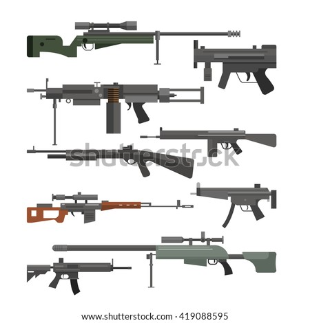 Vector set of army combat weapons. Icons isolated on white background. Gun, rifles, machine gun.