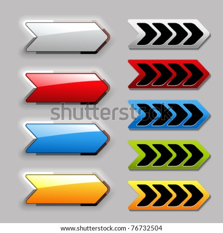 Vector set of arrow buttons - stock vector