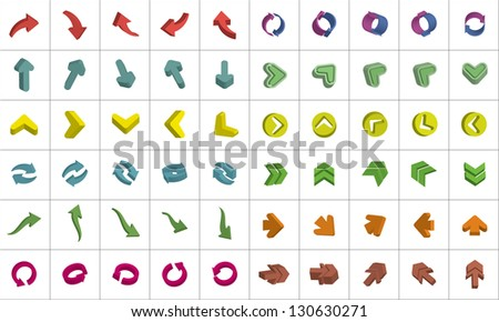 Vector set of arrows - stock vector