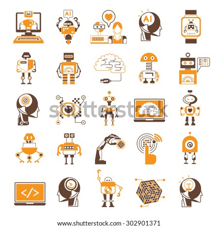 vector set of artificial intelligence (AI) icons, robot icons,  - stock vector
