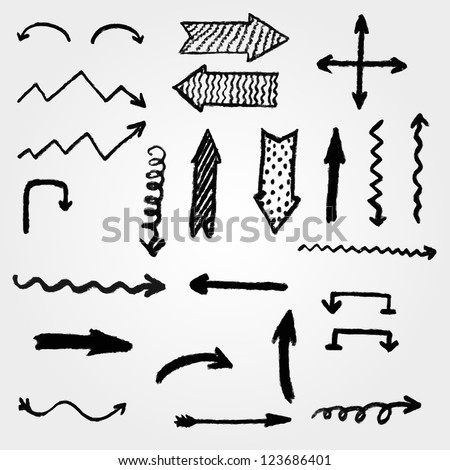 vector set artistic hand drawn arrows stock vector royalty free
