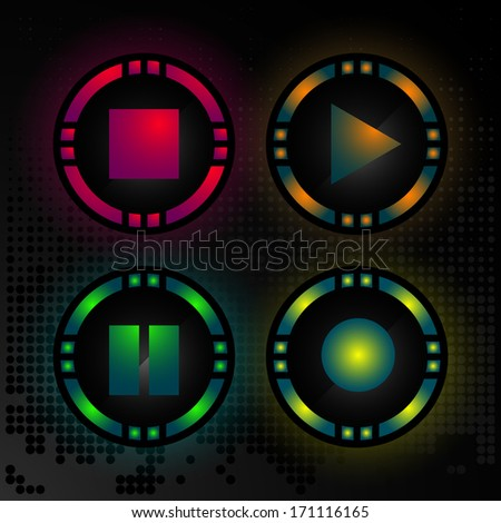 Vector set of audio player buttons - play, pause, stop and recording - collection of design audio decoration, website elements, audio player icons - stock vector