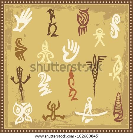 Vector set of Australian aboriginal petroglyph ornaments. - stock vector