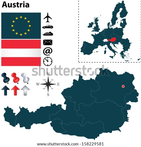 Vector set of Austria country shape with flags, icons isolated and European Union - stock vector
