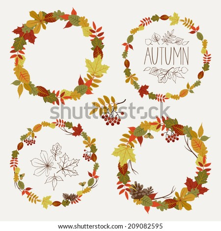 Vector set of autumn leaves round frames | Collection of fall themed circle shaped frames with design elements featuring leaves, rowan berries, acorns and pine cones - stock vector