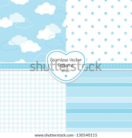 Vector set of 4 background patterns in pale blue. Good for Baby Shower, Birthday, scrapbook, greeting cards, gift wrap, surface textures. See my folio for JPEG versions. - stock vector