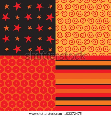 Vector set of 4 background patterns in red, black and orange. Can be used for Scrapbook, Greeting Cards, Gift Wrap, Wallpapers or surface textures. See my portfolio for JPEG versions. - stock vector