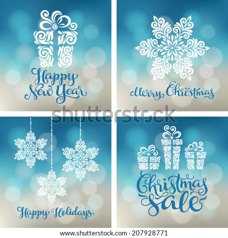 Vector set of backgrounds with christmas decoration for your design. Vintage ornamental gift box, balls and snowflakes on defocus background. Happy New Year greeting card
