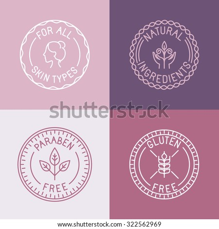Vector set of badges and emblems in trendy linear style for organic and natural cosmetic packaging - for all skin types, natural ingredients, paraben free, gluten free - stock vector