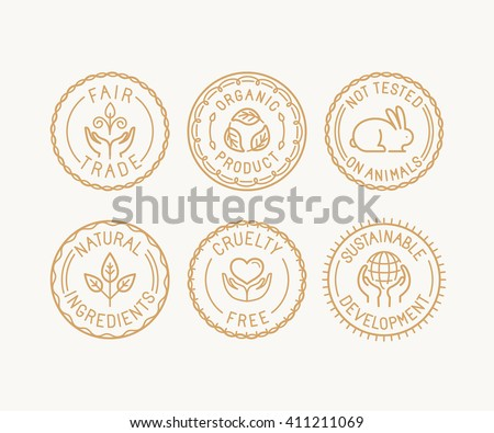 Vector set of badges and labels in trendy linear style - fair trade, organic product, not tested on animals, natural ingredients, cruelty free and sustainable development