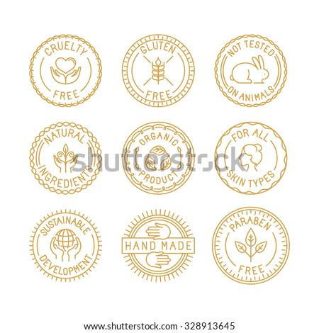 Vector set of badges for natural and organic cosmetics for packaging - cruelty free, gluten free, not tested on animals, natural ingredients, organic products, sustainable development - stock vector