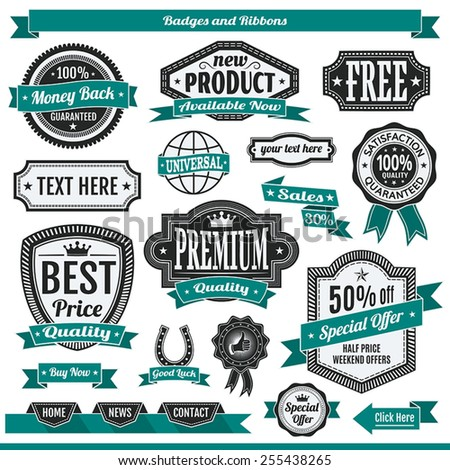 Vector set of badges labels and ribbons sticker