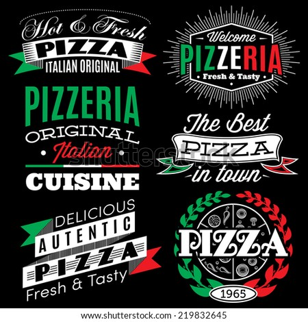 vector set of badges with inscriptions for the pizza menu - stock vector