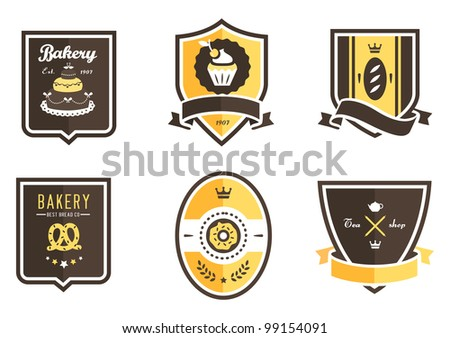 Vector set of 6 bakery food emblems